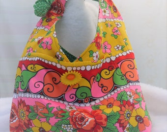 Hobo Purse, Hobo Bag, Bright Floral Hobo Bag, Shoulder Purse, Cloth Purse, Bag, Medium Purse, Medium Bag, Tote, Market Tote Bag, Bag Again