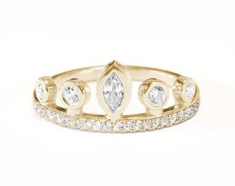 Marquise crown unique engagaement ring eternity, bezel setting, delicate diamond ring, simple and elegant, 14K yellow gold