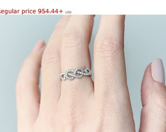 Summer Sale! Love Knot Gold Ring, Curly Infinity Knot Diamond Ring, Unique Diamond Wedding Ring, Love Knot Diamond Rings, Delicate Thin Ring