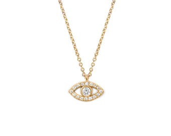 """Evil Eye Necklace, Natural Diamond Pave Pendant - 14K Gold Diamond Eye Necklace; Diamond Pave Necklace on 42 cm / 16.5"""" Gold Rolo Chain"""