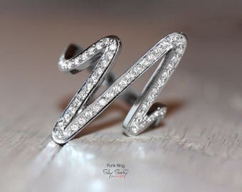 Wild Zig Zag Ring - Unique Diamond Ring, 14K White Gold Ring, Diamond Engagement Ring, Gold Rings for Women, Punk Ring
