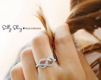 Art Deco Engagement Ring, 14K Gold Ring, Original Infinity Knot Ring, Cluster Ring, Infinity Engagement Ring, Pave Diamond Ring.