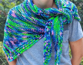 XMAS IN JULY up to 50%off New Hand Knit Long Shawlette, Mermaid,  Blue, Green , Pink multi, Year Round