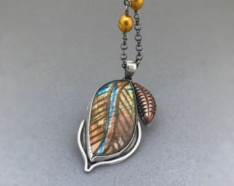Labradorite Fall Necklace, labradorite pendant Necklace, gemstone Necklace, Copper Sterling Silver Necklace, One-of-kind jewelry