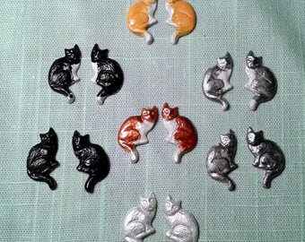 Cat Stud Earrings . Assorted Colors. Hypoallergenic Posts.