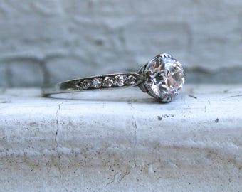 Rare Authentic Vintage Tiffany & Co Diamond Platinum Ring Engagement Ring - 1.00ct.