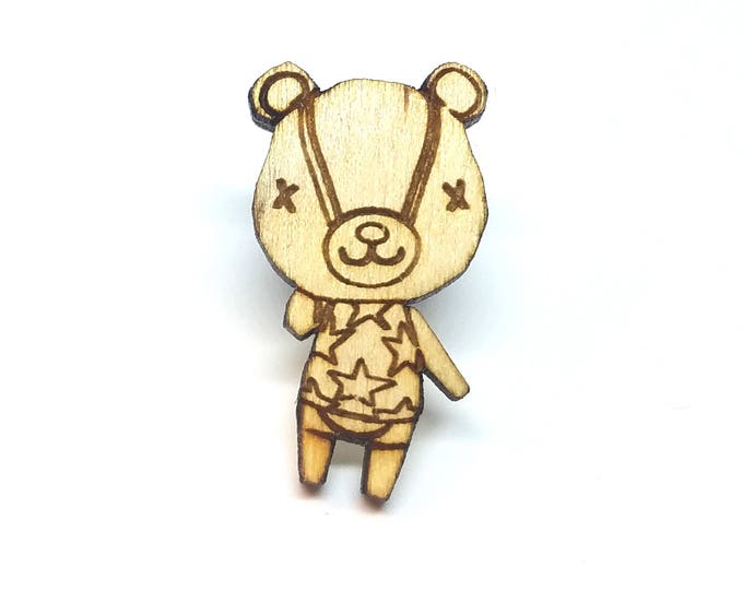 Stitches Animal Crossing Pin | Laser Cut Jewelry | Wood Accessories | Wood Pin