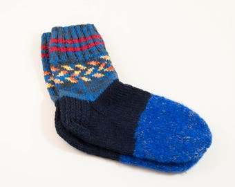 Hand Knitted Wool Socks - Blue and Dark Blue, Size Large