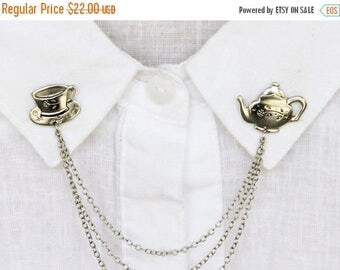 VACATION SALE silver teapot  collar pins, collar chain, collar brooch, lapel pin, teapot pin, tea cup brooch, teapot brooch, tea cup pin
