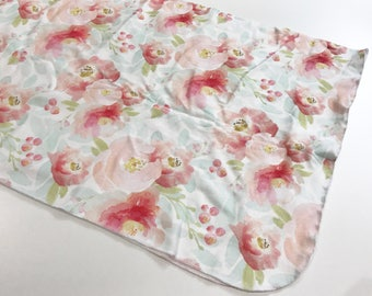 Red Floral Watercolor Swaddle Blanket, Red and Pink Watercolor Floral Organic Cotton Knit Swaddle Blanket, Baby Girl Blanket Baby Shower Gif