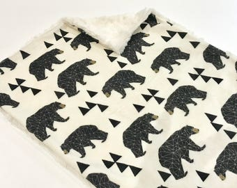 Geometric Woodland Bears Baby Boy MINKY Lovey Blanket, MINI Minky Baby Boy Blanket, Taggie Blanket, Cream Gender Neutral Woodland Baby Gift