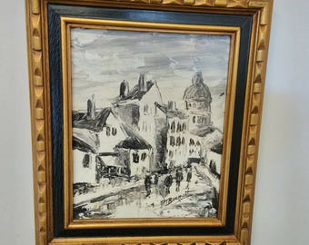 Mid Century Small Signed Oil Painting on a Board/Black and White Oil Painting/European Town Painting