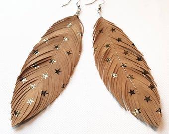 LIMITED Gold Stars Earrings, Feather Earring, Large Earrings, Lambskin, Cochella, Gypsy, leather Feather Earrings,  Bohemian, Boho, Festival
