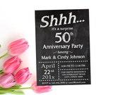Überraschen Sie druckbare Tafel Hochzeit Geburtstag Einladung, Geburtstag Party-Einladung, jedes Jahr 10. 25. 30. 40 überraschen Einladung