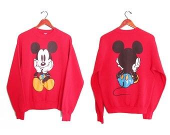 vintage sweatshirt / Mickey sweatshirt / 90s Mickey Mouse / 1990s double sided Mickey Mouse Disney sweatshirt Medium
