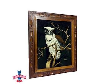 Vintage Owl Black Velvet Painting, Night Watcher Bird Mid Century Modern