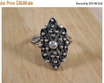 ETSYCIJ Vintage Sterling Silver Pebbled Shield Ring / Sterling Silver Bali Style Ring / Solid Silver Ring Size 8