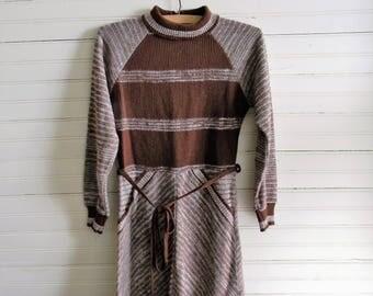 Girls Vintage Dress, Sweater Dress Brown Sweater Dress Turtle Neck Sweater Dress, Girls 1980s Sweater Dress Size 8-10 Girls Dress