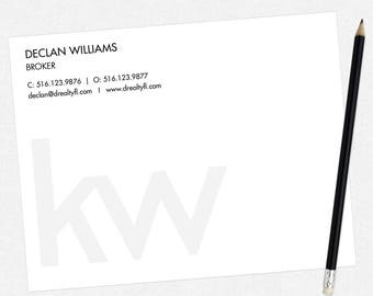 KW real estate flat notecards - KW personal stationery - thick, matte, full color both sides - free UPS ground shipping