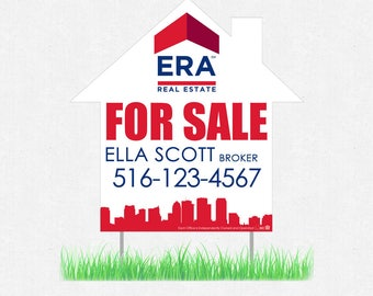 """house real estate yard sign - 23"""" x 23"""" horizontal or vertical lawn signs - full color both sides - FREE design and UPS ground shipping"""
