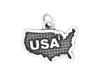 Sterling Silver Oxidized USA Charm (with Options)