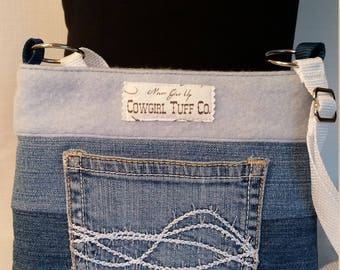 Denim Ombre with Cashmere Top Slim Line Cross Body with Barb Wire Pocket
