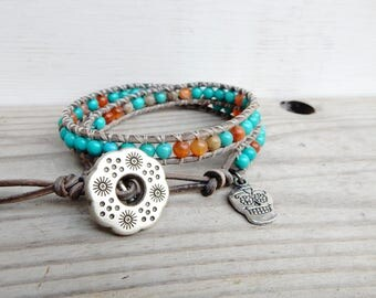 Turquoise Stone Bracelet. Leather Wrap Bracelet. Positive Energy Jewelry. Hipster Bracelet. Bohemian Jewelry. Adventure Bracelet. Healing