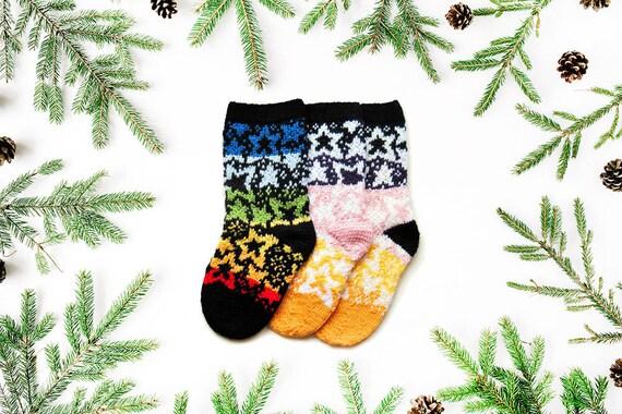 knit Christmas socks pattern, STARS, fairisle sock, gifts for ...