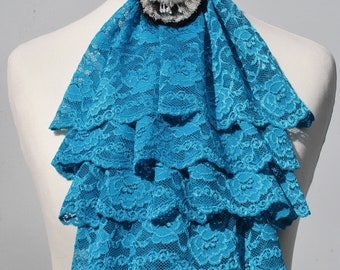 Turquoise blue lace jabot FREE UK SHIPPING