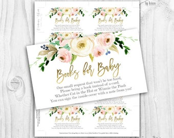 floral blush and gold bring a book cards, boho floral bring a book cards, rustic baby shower girl books for baby cards