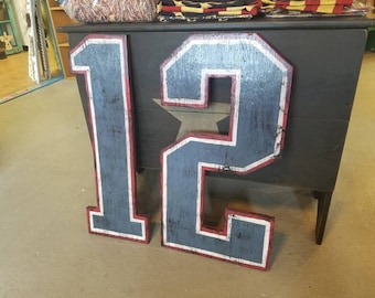 Rustic Jersey Numbers - Tom Brady #12, vintage-style New England Patriots sports decor