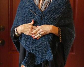 Hand Knitted Super Soft Denim Blue Heather Acrylic Triangle Shawl with Shawl Stick