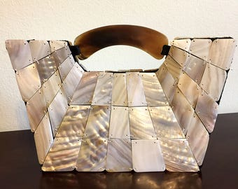 Vintage Retro Style Evening Bag - Mother of Pearl and Horn - Mad Bags