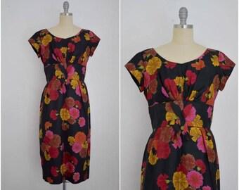 Vintage 1950s Silk Twill Red Yellow Carnation Print Dress