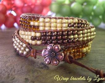 Beaded wrap bracelet,Leather Wrap Bracelet, Triple Wrap, Boho bracelet - 964