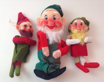 vintage nos deadstock felt christmas elves gnomes dwarfs, set of 3, mid-century, kitschy, figurines, ornaments, made in japan