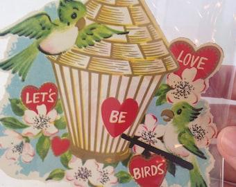 vintage mid-century 'let's be lovebirds' Valentine's Day card, birds, birdhouse, unused