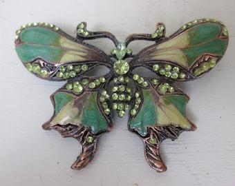 Vintage Butterfly Brooch~Enamel~Rhinestones~Pretty~