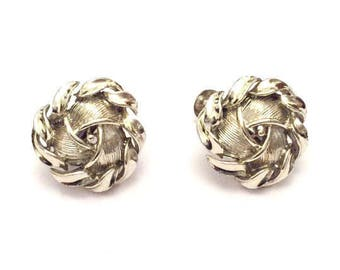 Silver Leaf Earrings, Swirl, Lisner Vintage Jewelry SALE