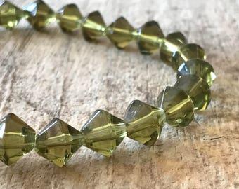 "34pc 10mm Green Bicone Beads, 13"" Strand, Glass Beads, Destash Jewelry Making Supplies, Jewelry DIY, Jewelry Supply"