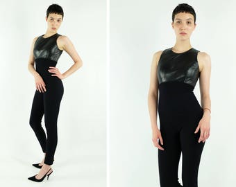 True Vintage Black Leather+Nylon Catsuit/Jumpsuit
