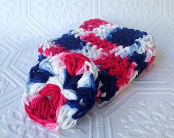Crochet Washcloth and Face Scrubby set, Red White and Blue, Bath Accessory, Cotton Set, Reusable, Handmade