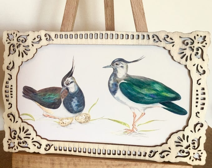 Vintage Lapwing Art Print, Lapwings, Vanellus vanellus, Peewits, Kiebitz, with wooden frame, Bird Illustration, Wall Art.