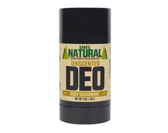 Sam's Natural - Unscented Natural Deodorant for Men - Gifts for Men - Natural, Vegan + Cruelty-Free