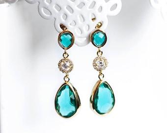 656 Emerald gold earrings, Bridal crystal green earrings, Gold teardrop earrings, Bridal CZ earrings, Cubic zirconia drop earrings jewelry.