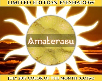 AMATERASU Shimmer Eye Shadow, Light Canary Yellow, Purple Duochrome, Vegan Cosmetics, Loose Pigment, Samples or Jars, Ships Out in 4-7 Days