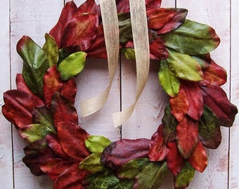 Magnolia Wreath-Fall Wreath-Fall Front Door Wreath-Fall Door Wreath-Fall Door Decor-Fall Wreaths for Door-JEWEL TONE MAGNOLIA Door Wreath