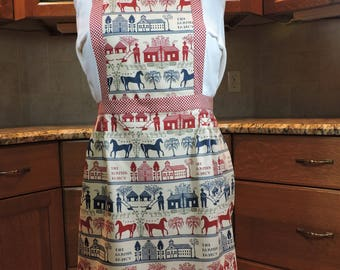 Specialty fabric coverlet print red blue full apron