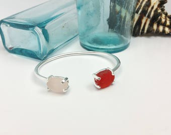 Dual Sea Glass, Prong Set Bracelet. Red. Sterling Silver. Adjustable. Beach Jewelry.