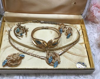 Vintage Six Piece Jewelry Set,Original Box,Cuff Braceley,Necklace,Earrings,Brooch,Pin,Blue,Seed Pearls